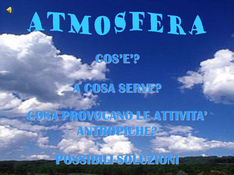 Latmosfera è un miscuglio gassoso formato da molti gas tra cui lazoto e lossigeno e contiene anche una piccola quantità dacqua.