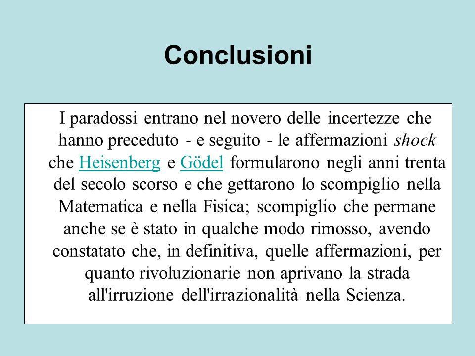 I paradossi entrano nel novero delle incertezze che hanno preceduto - e seguito - le affermazioni shock che Heisenberg e Gödel formularono negli anni
