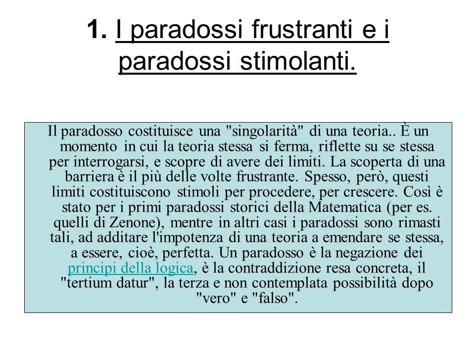 1. I paradossi frustranti e i paradossi stimolanti. Il paradosso costituisce una
