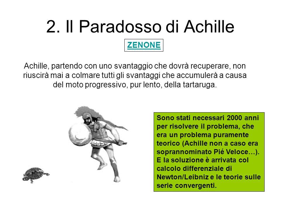 2. Il Paradosso di Achille Achille, partendo con uno svantaggio che dovrà recuperare, non riuscirà mai a colmare tutti gli svantaggi che accumulerà a