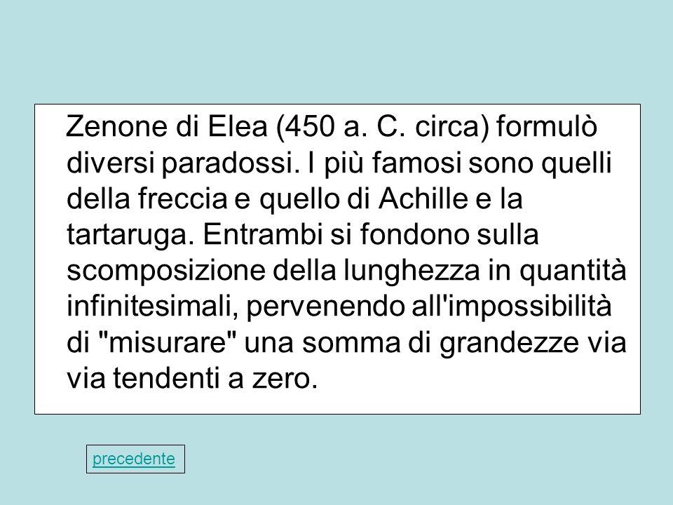 Zenone di Elea (450 a. C. circa) formulò diversi paradossi. I più famosi sono quelli della freccia e quello di Achille e la tartaruga. Entrambi si fon