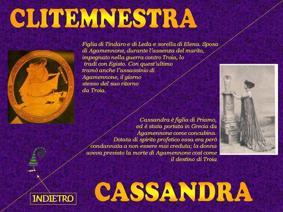 Cassandra è figlia di Priamo, ed è stata portata in Grecia da Agamennone come concubina. Dotata di spirito profetico essa era però condannata a non es