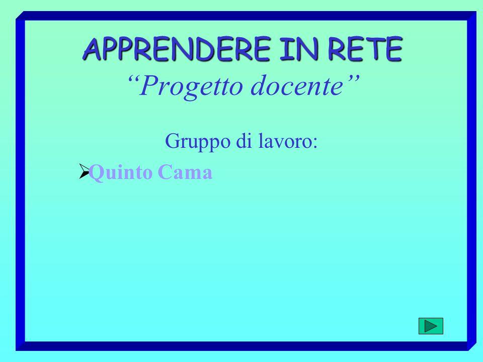 APPRENDERE IN RETE APPRENDERE IN RETE Progetto docente Gruppo di lavoro: Quinto Cama