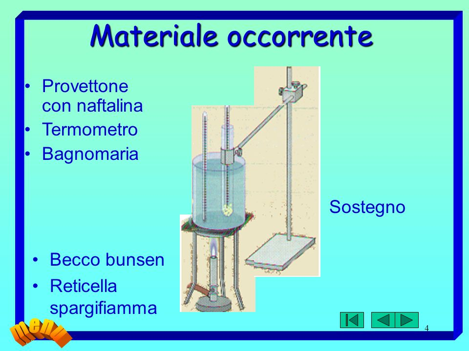 4 Materiale occorrente Becco bunsen Reticella spargifiamma Provettone con naftalina Termometro Bagnomaria Sostegno
