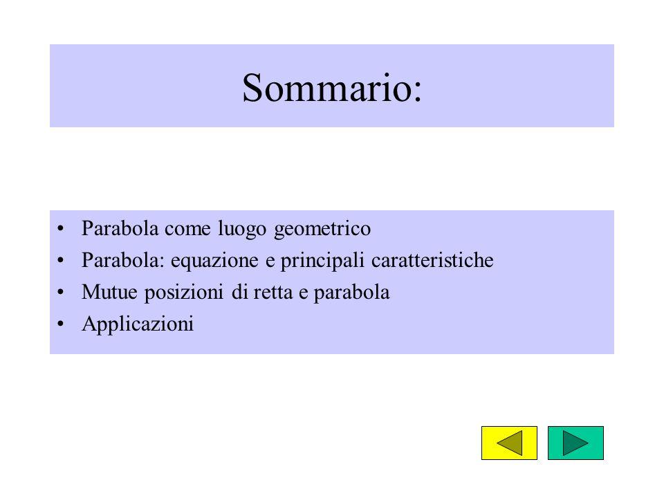 Sommario: Parabola come luogo geometrico Parabola: equazione e principali caratteristiche Mutue posizioni di retta e parabola Applicazioni
