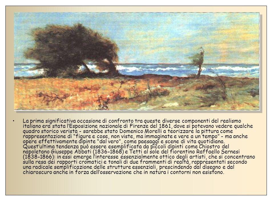 Al problema dei valori era estremamente sensibile anche Silvestro Lega (1826-1895), nato nel forlivese, il cui realismo di visione si svolse in una serie di opere, eseguite tra la metà degli anni sessanta e i primi settanta, caratterizzate da un prevalente interesse per il racconto con unintonazione fortemente intimista (come Il pergolato).