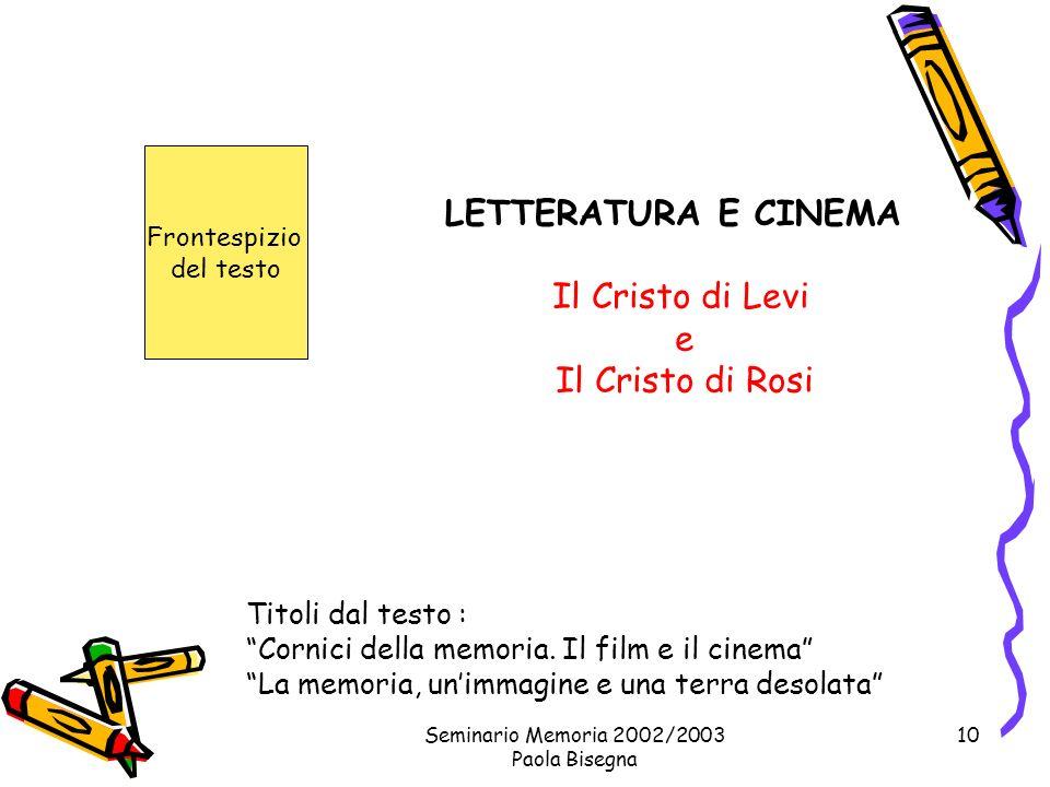 Seminario Memoria 2002/2003 Paola Bisegna 10 Il Cristo di Levi e Il Cristo di Rosi Titoli dal testo : Cornici della memoria.