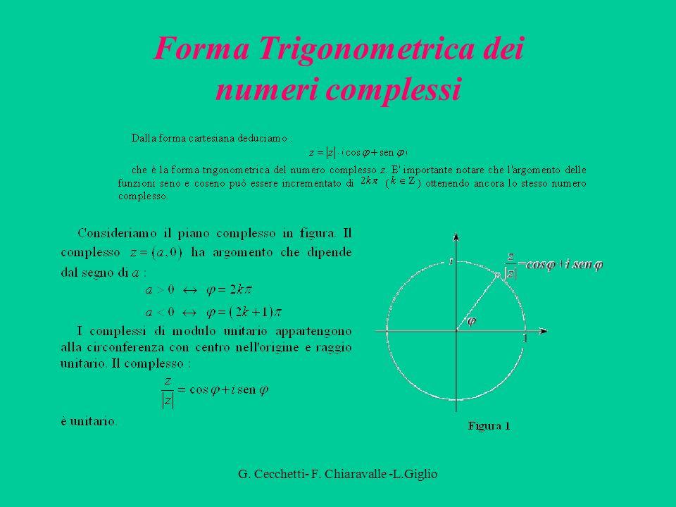 G. Cecchetti- F. Chiaravalle -L.Giglio Forma Cartesiana dei numeri complessi Gli elementi di C sono rappresentabili come punti del piano cartesiano, d