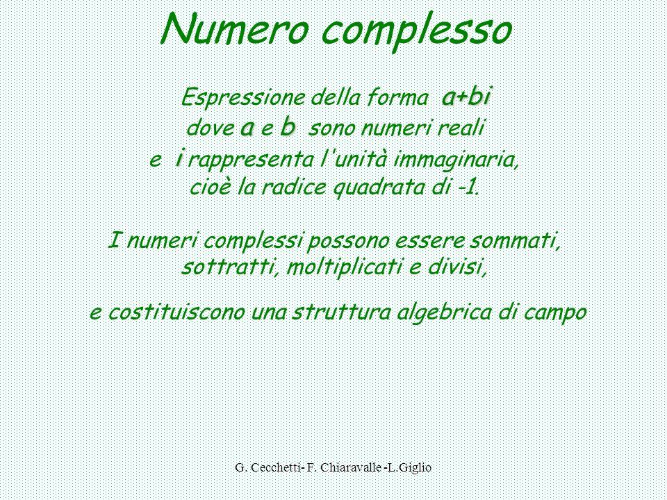 G. Cecchetti- F. Chiaravalle -L.Giglio 27 37/8 12 -77 13 27/6 -2,5i 4i i 7i R I C numeri complessi C = R U I i = -1
