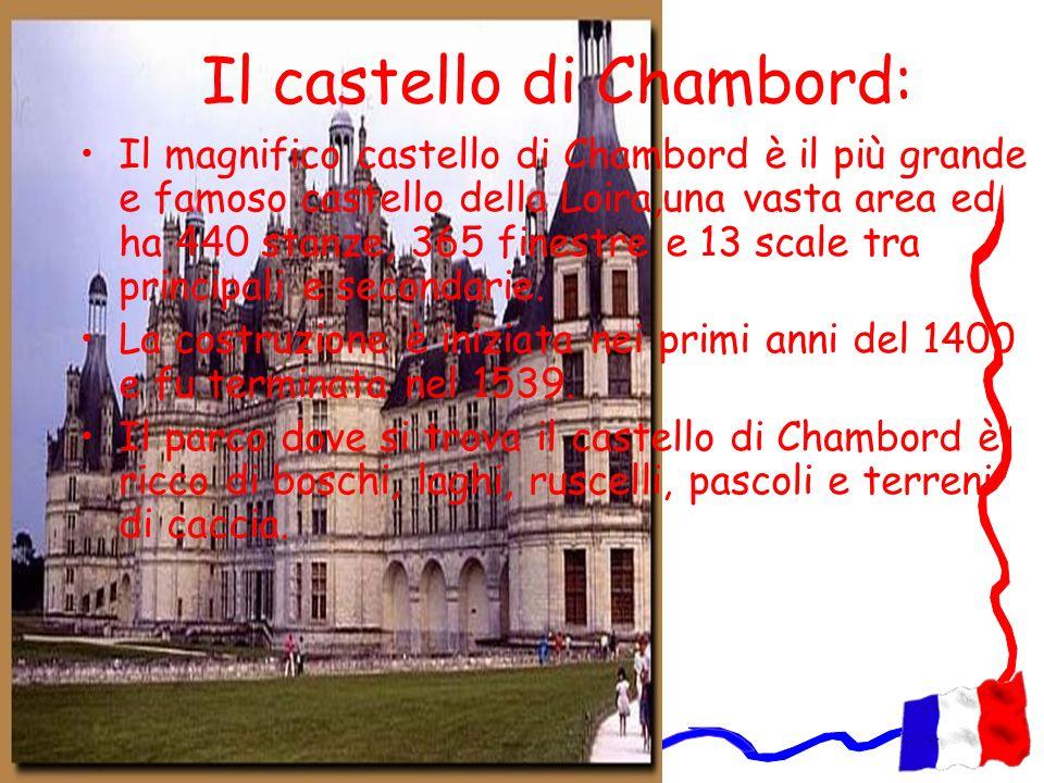 Il castello di Chambord: Il magnifico castello di Chambord è il più grande e famoso castello della Loira,una vasta area ed ha 440 stanze, 365 finestre