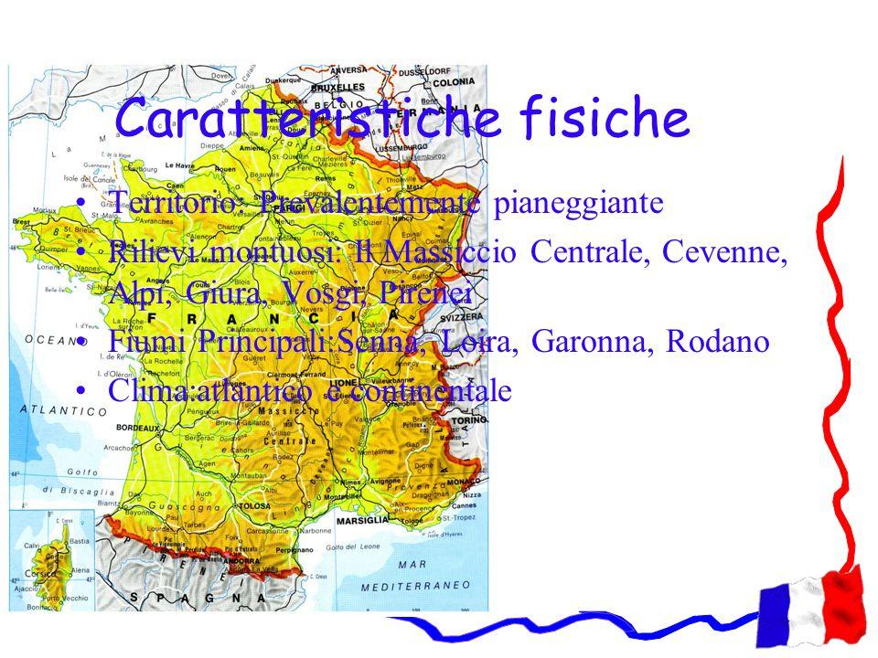 Caratteristiche fisiche Territorio: Prevalentemente pianeggiante Rilievi montuosi: Il Massiccio Centrale, Cevenne, Alpi, Giura, Vosgi, Pirenei Fiumi P