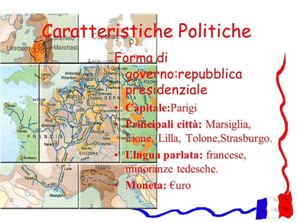 Caratteristiche Politiche Forma di governo:repubblica presidenziale Capitale:Parigi Principali città: Marsiglia, Lione, Lilla, Tolone,Strasburgo. Ling