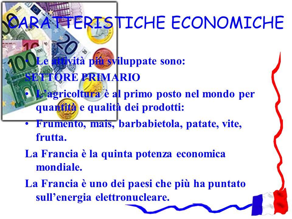 CARATTERISTICHE ECONOMICHE Le attività più sviluppate sono: SETTORE PRIMARIO Lagricoltura è al primo posto nel mondo per quantità e qualità dei prodot