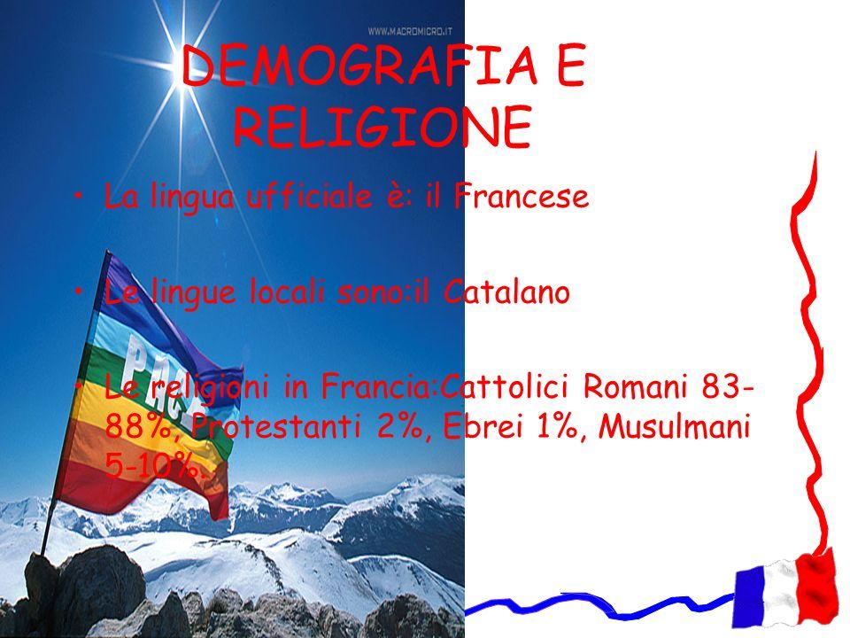 DEMOGRAFIA E RELIGIONE La lingua ufficiale è: il Francese Le lingue locali sono:il Catalano Le religioni in Francia:Cattolici Romani 83- 88%, Protesta