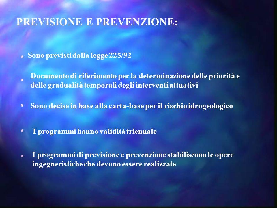 PREVISIONE E PREVENZIONE: Sono previsti dalla legge 225/92 Documento di riferimento per la determinazione delle priorità e delle gradualità temporali