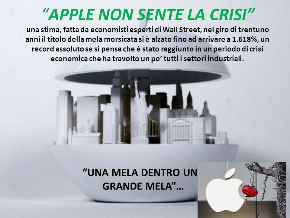 APPLE NON SENTE LA CRISI una stima, fatta da economisti esperti di Wall Street, nel giro di trentuno anni il titolo della mela morsicata si è alzato f
