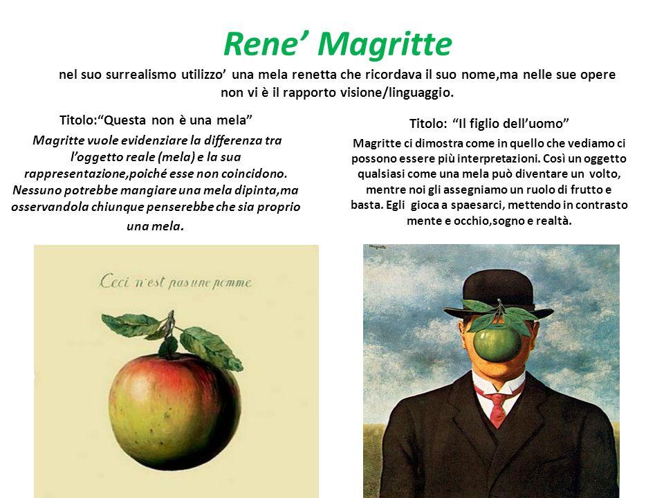 Rene Magritte nel suo surrealismo utilizzo una mela renetta che ricordava il suo nome,ma nelle sue opere non vi è il rapporto visione/linguaggio. Tito