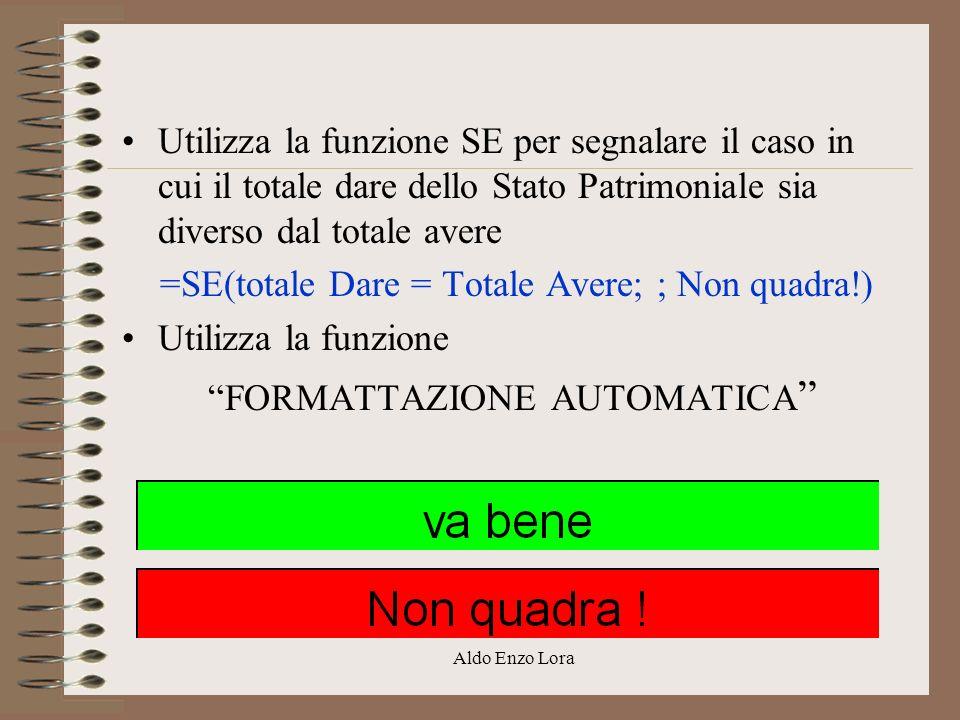 Aldo Enzo Lora Utilizza la funzione SE per segnalare il caso in cui il totale dare dello Stato Patrimoniale sia diverso dal totale avere =SE(totale Da