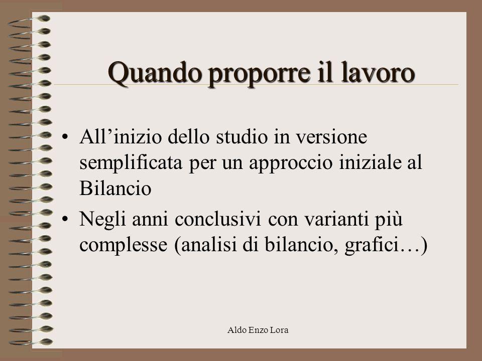 Aldo Enzo Lora Quando proporre il lavoro Allinizio dello studio in versione semplificata per un approccio iniziale al Bilancio Negli anni conclusivi c