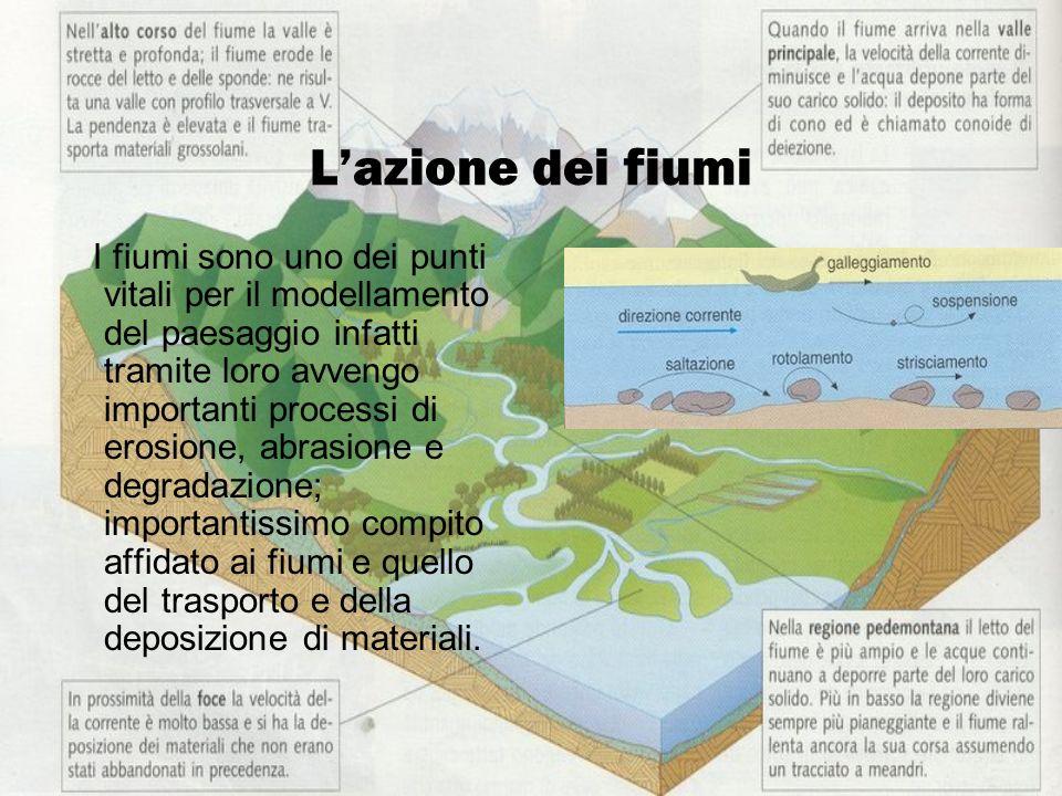 Lazione dei fiumi I fiumi sono uno dei punti vitali per il modellamento del paesaggio infatti tramite loro avvengo importanti processi di erosione, ab