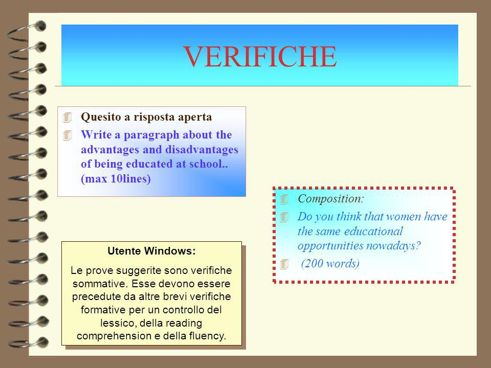 VERIFICHE 4 Composition: 4 Do you think that women have the same educational opportunities nowadays.