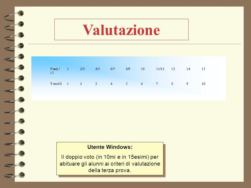 Valutazione Utente Windows: Il doppio voto (in 10mi e in 15esimi) per abituare gli alunni ai criteri di valutazione della terza prova.