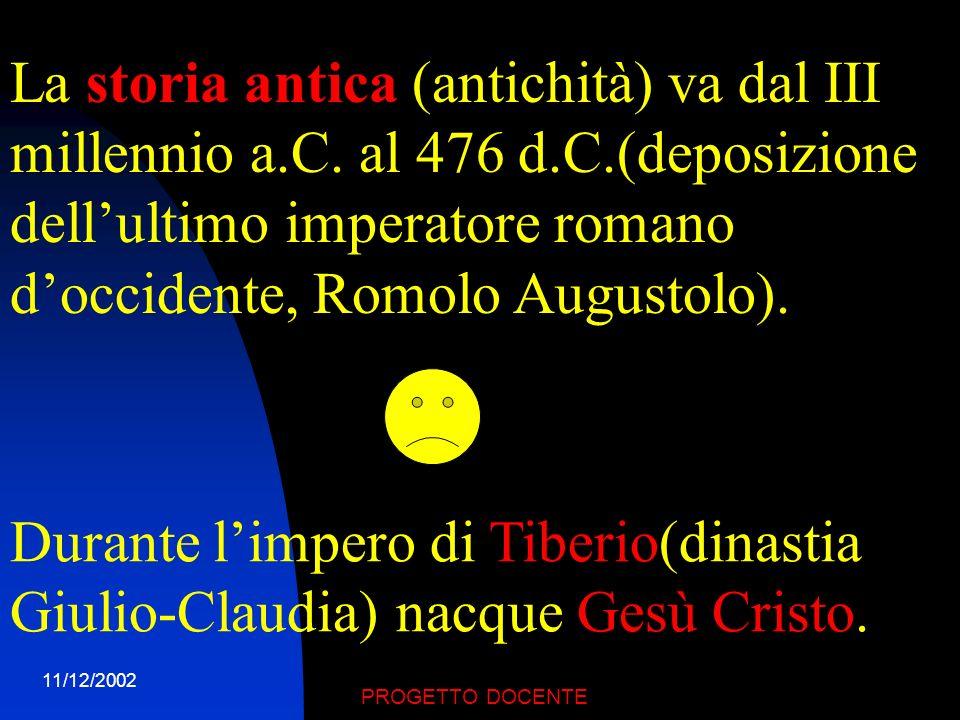 11/12/2002 PROGETTO DOCENTE LA STORIA ANTICA (DAL III MILLENNIO A.C.)STORIA ANTICA