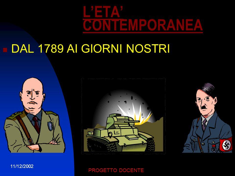 11/12/2002 PROGETTO DOCENTE Letà moderna è il periodo delle scoperte geografiche,della Riforma e della Controriforma, della rivoluzione copernicana, a