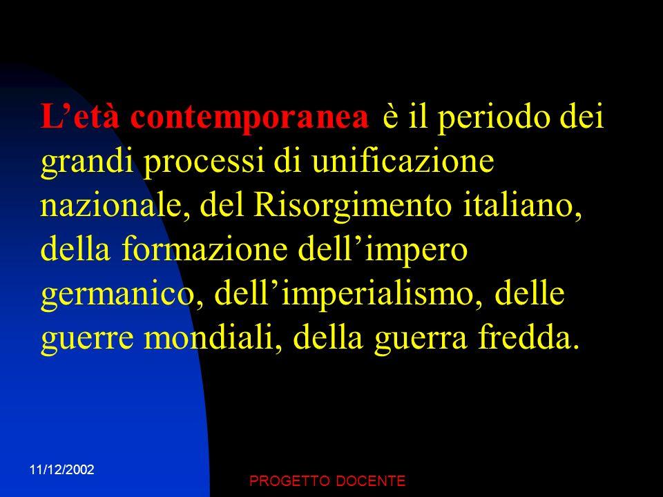 11/12/2002 PROGETTO DOCENTE LETA CONTEMPORANEA DAL 1789 AI GIORNI NOSTRI