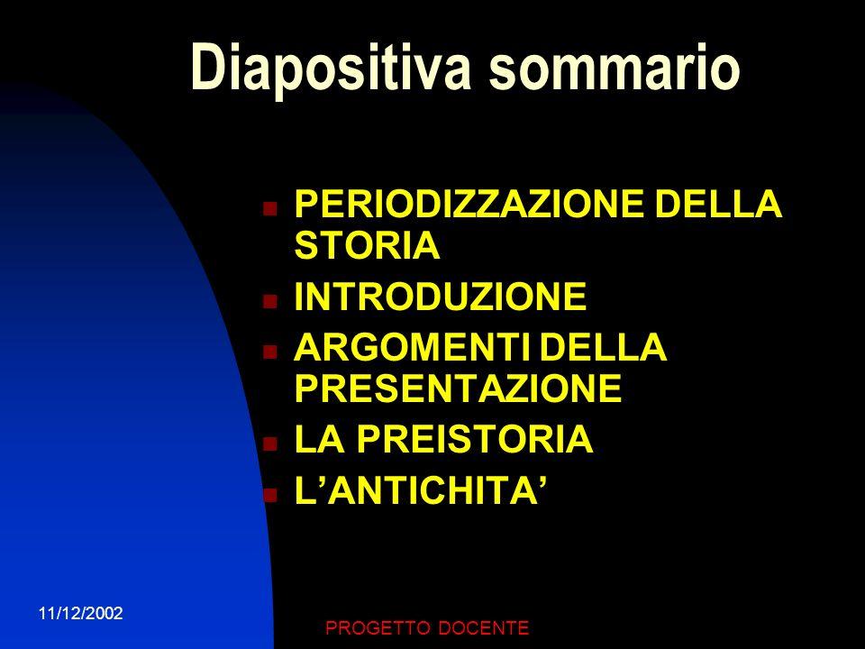 11/12/2002 PROGETTO DOCENTE RIFERIMENTI TEMPORALI