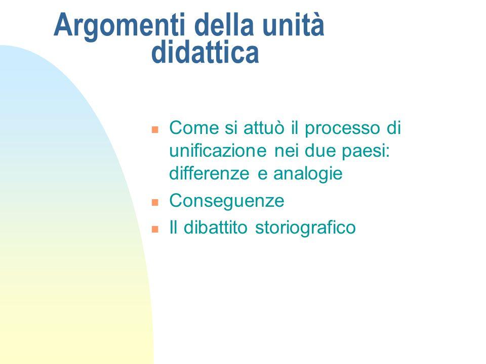 Argomenti della unità didattica Come si attuò il processo di unificazione nei due paesi: differenze e analogie Conseguenze Il dibattito storiografico