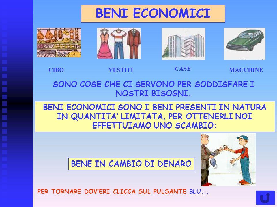 BENI ECONOMICI MACCHINE CASE VESTITICIBO SONO COSE CHE CI SERVONO PER SODDISFARE I NOSTRI BISOGNI.
