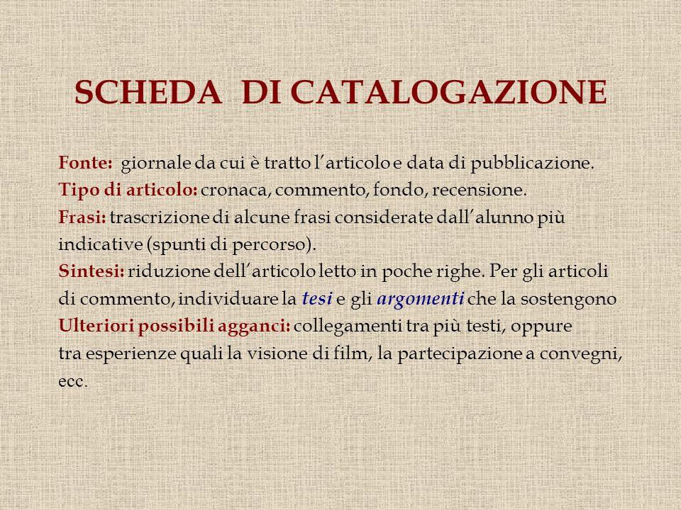 SCHEDA DI CATALOGAZIONE Fonte: giornale da cui è tratto larticolo e data di pubblicazione.