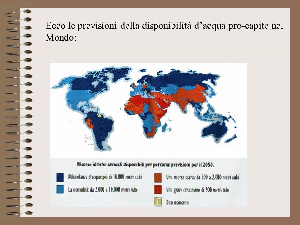 Ecco le previsioni della disponibilità dacqua pro-capite nel Mondo: