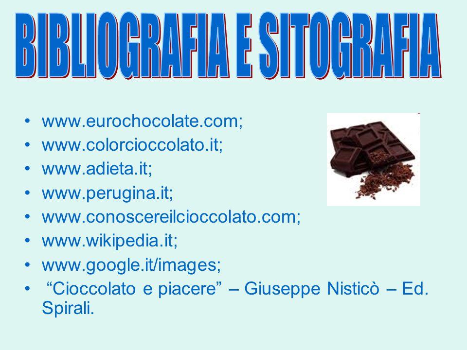 www.eurochocolate.com; www.colorcioccolato.it; www.adieta.it; www.perugina.it; www.conoscereilcioccolato.com; www.wikipedia.it; www.google.it/images;