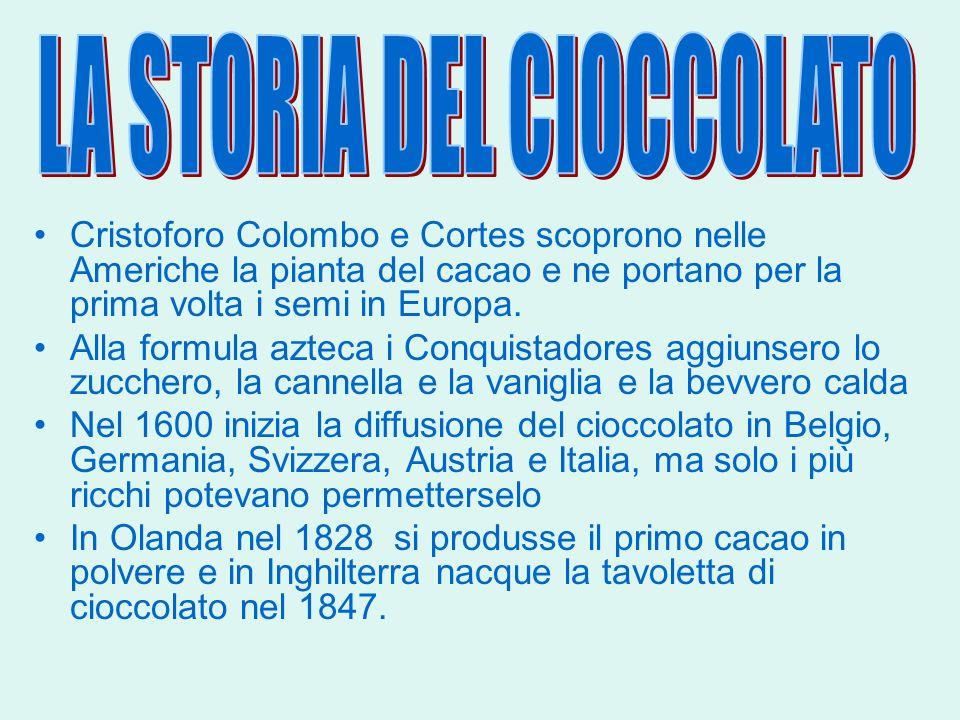 Cristoforo Colombo e Cortes scoprono nelle Americhe la pianta del cacao e ne portano per la prima volta i semi in Europa. Alla formula azteca i Conqui
