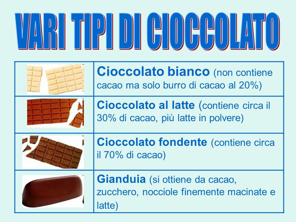 Cioccolato bianco (non contiene cacao ma solo burro di cacao al 20%) Cioccolato al latte ( contiene circa il 30% di cacao, più latte in polvere) Ciocc