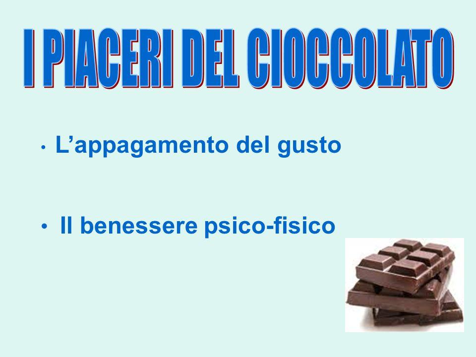 Aumenta la produzione di serotonina Il cioccolato sveglia il nostro cervello perchè contiene zuccheri e caffeina La serotonina si genera nel nostro corpo grazie allazione del triptofano, un amminoacido essenziale, contenuto nel cioccolato