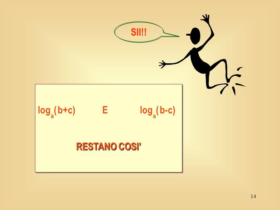 13 log a ( b+c) = log a b + log a c log a ( b-c) = log a b - log a c NOO!!