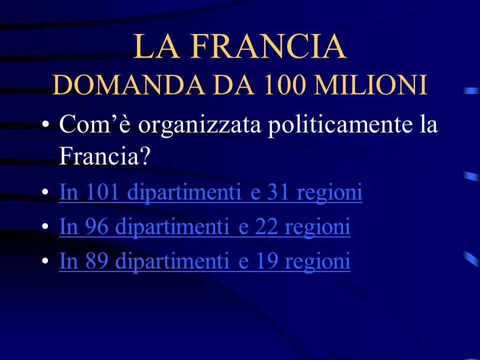 LA FRANCIA DOMANDA DA 100 MILIONI Comè organizzata politicamente la Francia? In 101 dipartimenti e 31 regioni In 96 dipartimenti e 22 regioni In 89 di