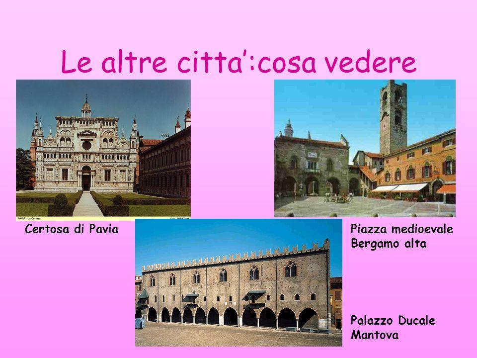Le altre citta:cosa vedere Certosa di Pavia Palazzo Ducale Mantova Piazza medioevale Bergamo alta