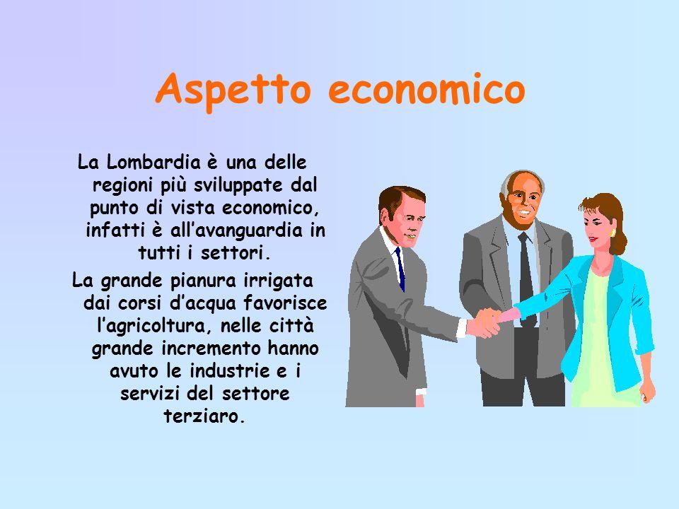 Aspetto economico La Lombardia è una delle regioni più sviluppate dal punto di vista economico, infatti è allavanguardia in tutti i settori.