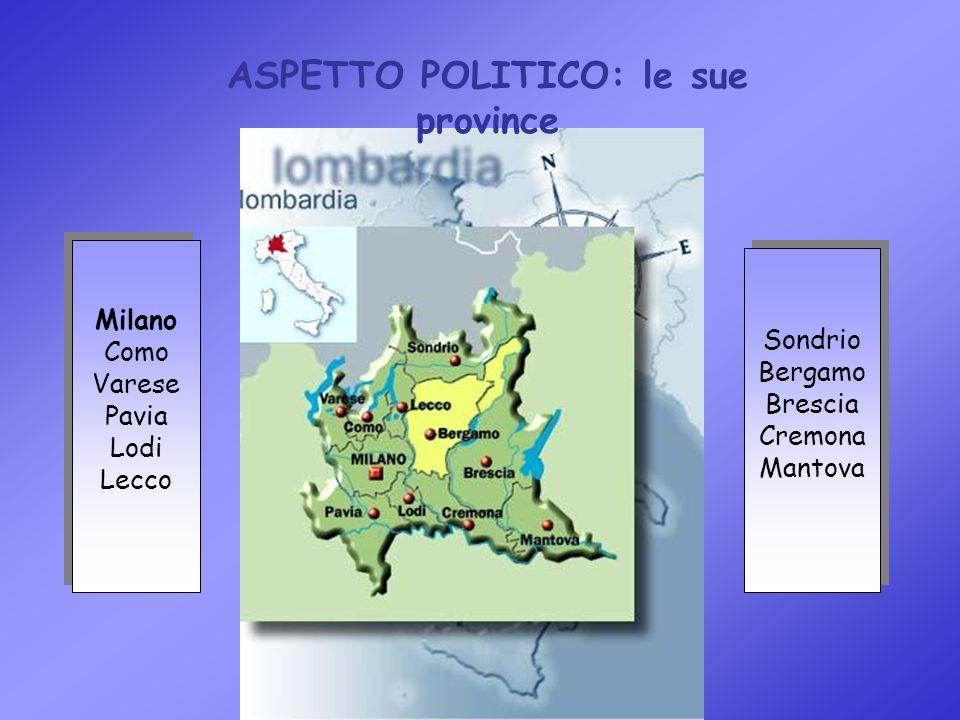Milano Como Varese Pavia Lodi Lecco Milano Como Varese Pavia Lodi Lecco Sondrio Bergamo Brescia Cremona Mantova Sondrio Bergamo Brescia Cremona Mantova ASPETTO POLITICO: le sue province