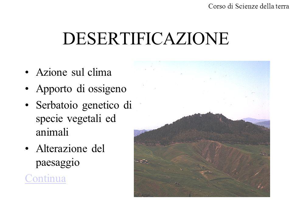 Corso di Scienze della terra DESERTIFICAZIONE Azione sul clima Apporto di ossigeno Serbatoio genetico di specie vegetali ed animali Alterazione del paesaggio Continua