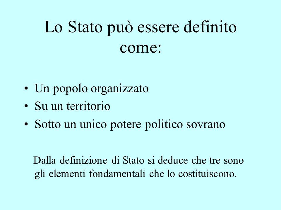 Lo Stato può essere definito come: Un popolo organizzato Su un territorio Sotto un unico potere politico sovrano Dalla definizione di Stato si deduce che tre sono gli elementi fondamentali che lo costituiscono.