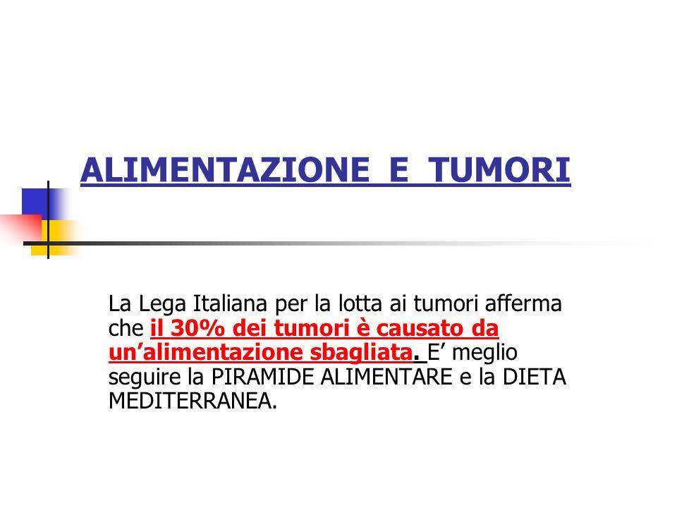 ALIMENTAZIONE E TUMORI La Lega Italiana per la lotta ai tumori afferma che il 30% dei tumori è causato da unalimentazione sbagliata. E meglio seguire