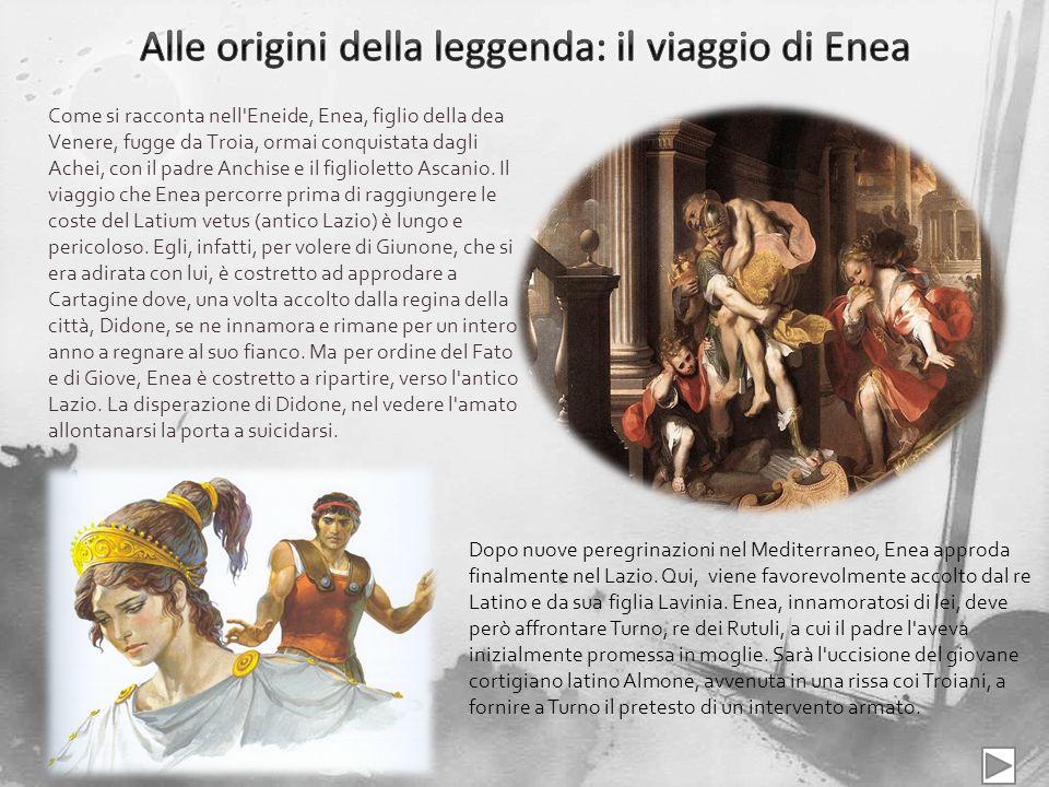 Come si racconta nell'Eneide, Enea, figlio della dea Venere, fugge da Troia, ormai conquistata dagli Achei, con il padre Anchise e il figlioletto Asca