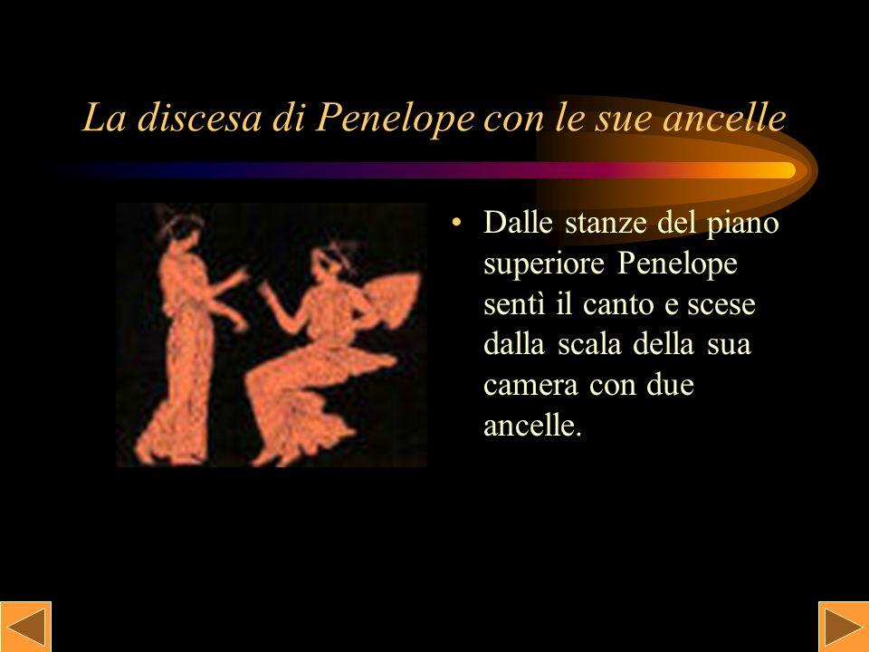 Il cantore Il famoso cantore Femio cantava tra i Proci, i quali erano seduti ascoltando in silenzio, il racconto del triste ritorno degli Achei da Troia.