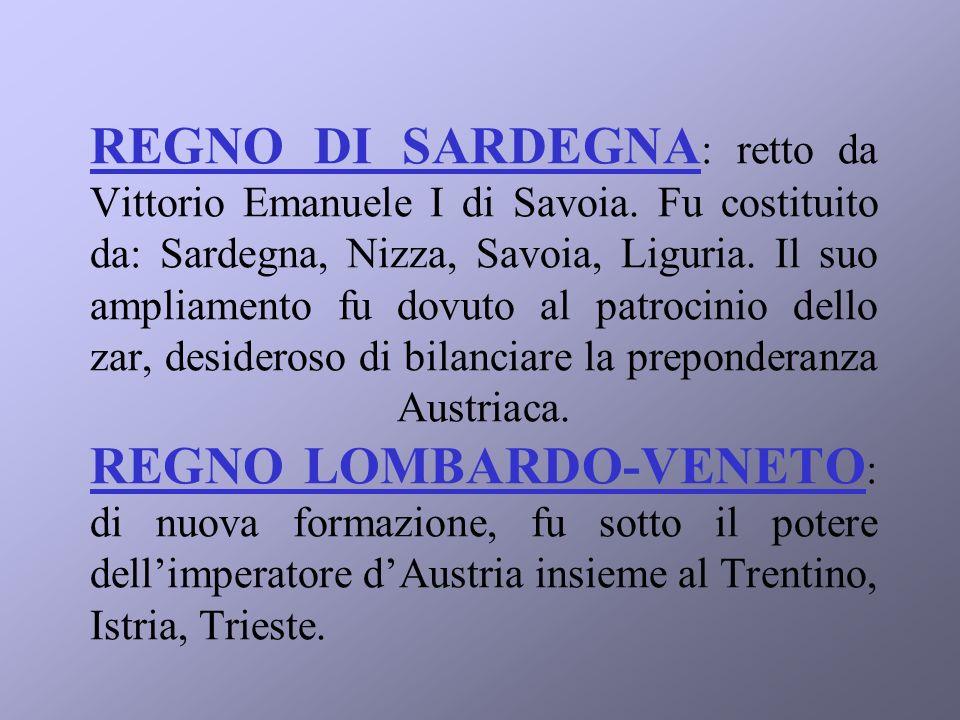 REGNO DI SARDEGNA : retto da Vittorio Emanuele I di Savoia.