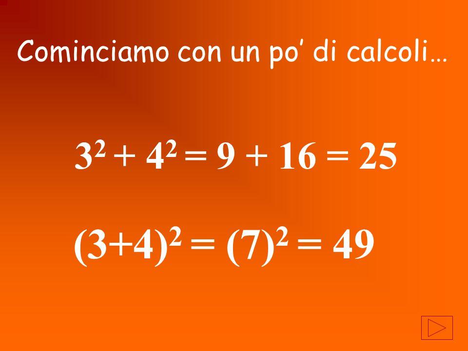 3 2 + 4 2 = 9 + 16 = 25 (3+4) 2 = (7) 2 = 49 Cominciamo con un po di calcoli…